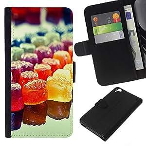 YiPhone /// Tirón de la caja Cartera de cuero con ranuras para tarjetas - Colorido del caramelo del arco iris - HTC Desire 820