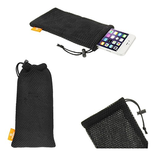 """DFV mobile - Universal Nylon Mesh Pouch Bag with Chain and Loop Closure for =>     APPLE IPHONE 8 PLUS [5,5""""] > Black"""