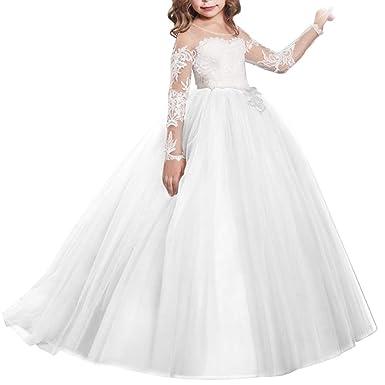 5cbba098b05db IBTOM CASTLE Fille Robe de Mariage Cérémonie Soirée Manches Longues Robes  Princesse en Dentelle Florale Costume