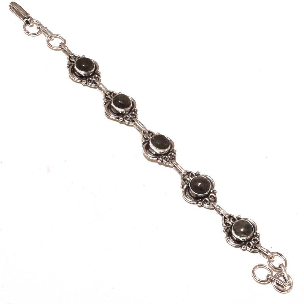 Black Labradorite Sterling Silver Overlay 15 Grams Bracelet 7-9 Long Wonderful
