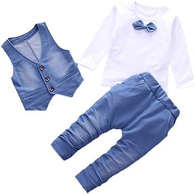 BBSMLIN 1-3 Año Bebe Niño Traje de Tres Piezas Invierno Otoño Camiseta Vaquera de Manga Larga con Pajarita + Chaleco + Pantalon