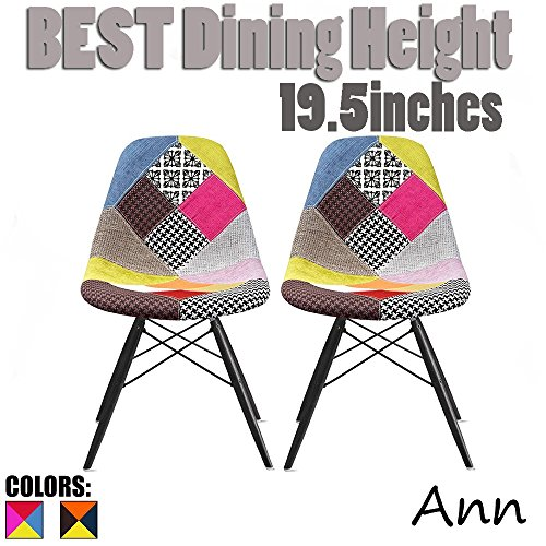 2xhome Set of Two (2) - Fabric Side Chair Black Wooden Legs Eiffel Dining Room Chairs No Arm Arms Armless Molded Plastic Seat Dowel Legs (Patchwork A)