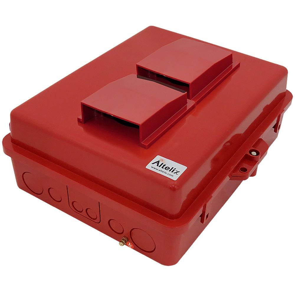 Altelix Red Vented NEMA Enlcosure (12'' x 8'' x 4'' Inside Space) Polycarbonate + ABS Weatherproof Safety Red NEMA Enclosure
