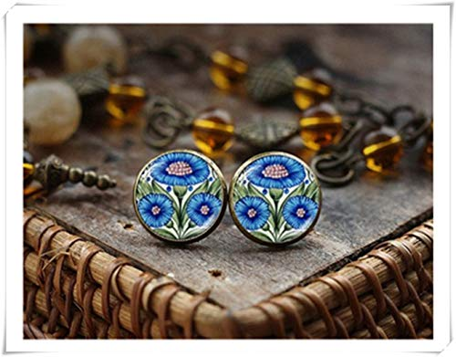 - hong ben xie chang Cornflower Stud Earrings, Blue Flower Stud Earrings,Victorian Art Earrings,Dome Glass Jewelry, Handmade