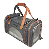 Discounted Price!- Luxury Airline Approved Pet Carrier. Dog Carrier & Cat Carrier Fits Under Seat. Soft Sided Pet Carrier for Small Dogs & Cats. Oxford w/Quality Grade Mesh. 2 Fleece Beds included.