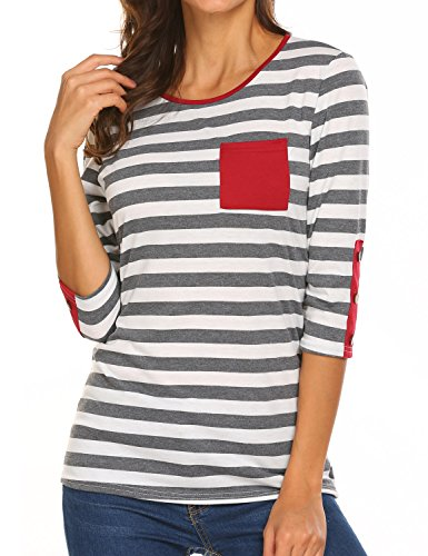 Womens 3/4 Sleeve Tops Scoop Neck Striped T Shirt Blouses with Pockets Buttons (Sleeve Neck Scoop Top 3/4)