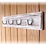DISTRESSED WHITE VINTAGE STYLE WOODEN HOOK RACK - 4 WHITE CAST IRON SINGLE HOOKS by Jones & Grey