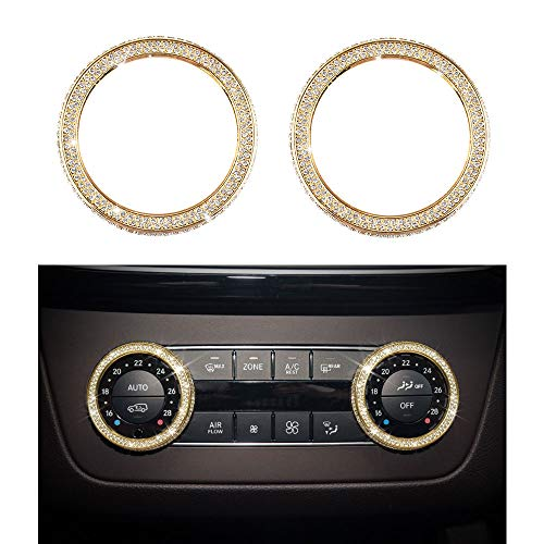 1797 Compatible W204 X204 W166 X166 C GLK Class AC Knob Caps Mercedes Benz Accessories Parts Bling Air Conditioning Control Switch Covers Decals Interior Inside Decorations AMG Women Men Crystal Gold ()