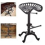 Topower Vintage Industrial Bar Stools,Cast Iron Tractor Stool,Adjustable Height,Swivel Seat Breakfast Chair (Rust)
