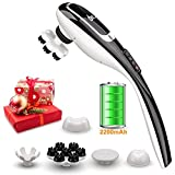 PowMax Double Head Percussion Action Handheld Massager,Electric Massager for Deep Tissue Muscle Kneading