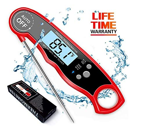 Digital Meat Thermometer Instant Read (2-4s) for Grilling Cooking Food or Candy,(Red)