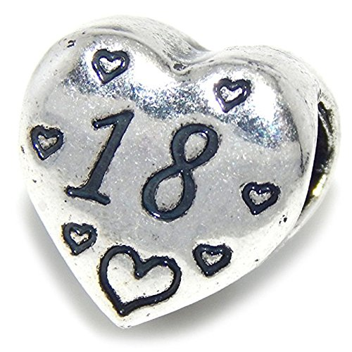 (GemStorm Silver Plated '18' Heart Charm Bead For European Snake Chain Bracelet)