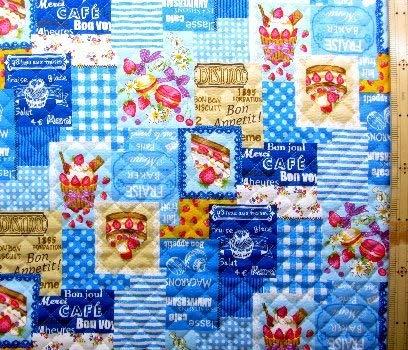 <プリント・キルティング生地>ケーキ カフェ(ブルー) (イチゴ ケーキ カップケーキ マカロン かわいい おしゃれ 男の子 女の子 子供 入園 入学 ピロル)の商品画像