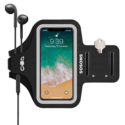 iPhone X/XS Armband,SOSONS Water Resistant Sports Gym Armband Case for iPhone X/XS.Fingerprint Touch Supported and Fits Smartphones with Slim Case,Armband with Card Pockets,Key Slot-Black