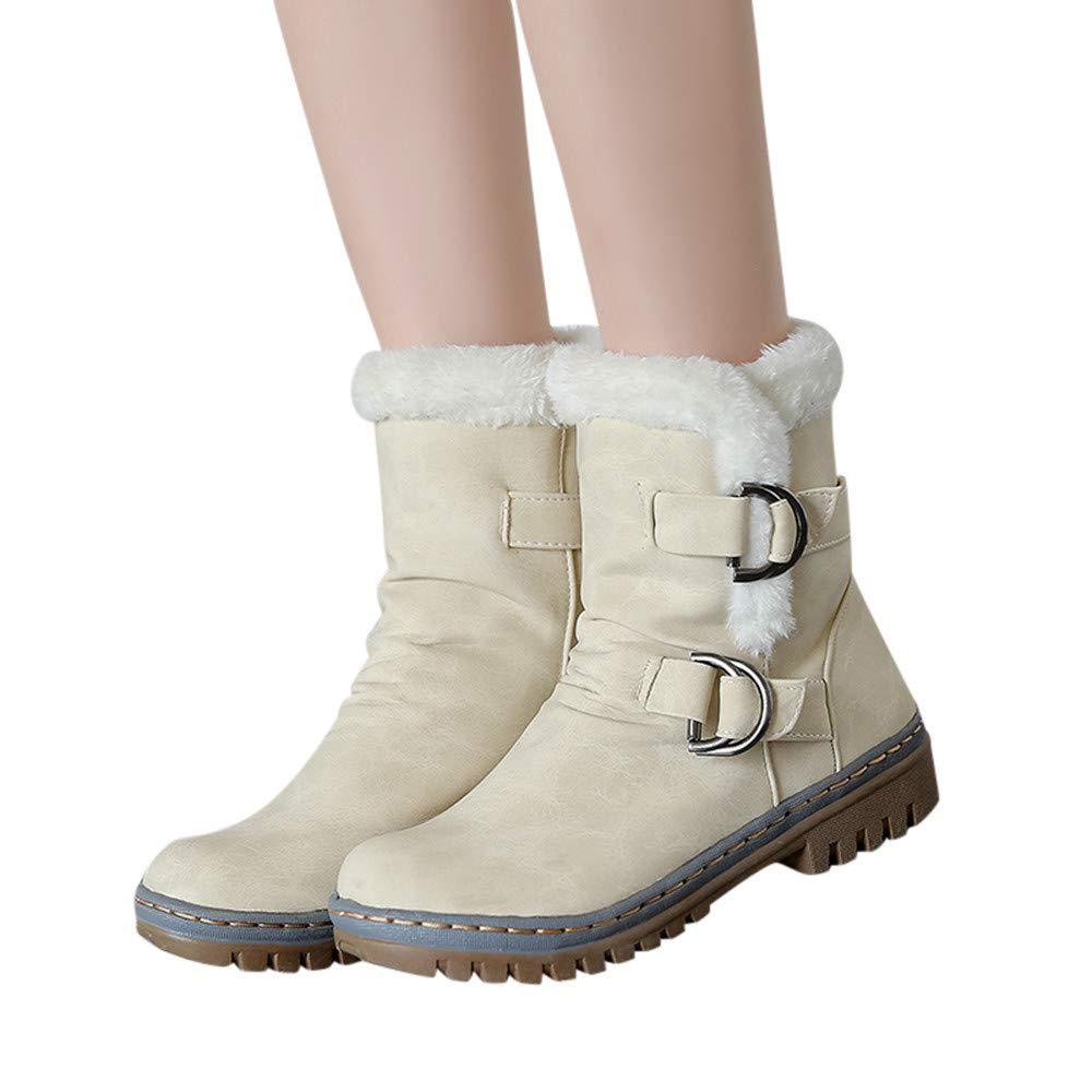 TianWlio Stiefel Frauen Winter Warm Schuhe Stiefeletten Boots Halten Schlüpfen Schneestiefel Weihnachten Winter Klassiker Schnalle Warme Schuhe Pelz Martin Schneeschuhe Kurzer Stiefelette