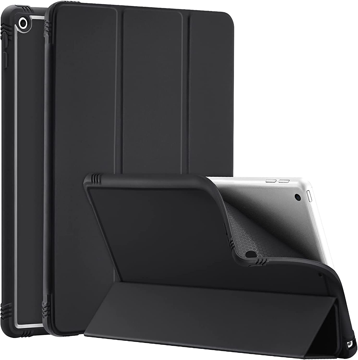 SIWENGDE for iPad 8th Generation 2020/iPad 7th Gen 2019 Case, iPad 10.2 inch Slim and Lightweight Trifold Stand Smart Cases Soft TPU Back Cover[Shock Absorption] Auto Wake/Sleep(Black)