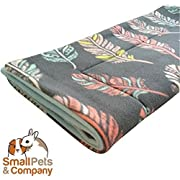 Small Pets and Company Guinea Pig Fleece Cage Liner |Fleece Guinea Pig Bedding |Midwest, C&C, Corner Pad (Midwest, Feathers on Gray)