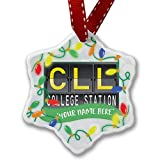Personalized Name Christmas Ornament, CLL Airport Code for College Station NEONBLOND