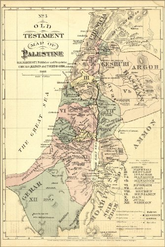 Poster Old Testament Map Palestine Israel Holy Land 1881 Antique Reprint