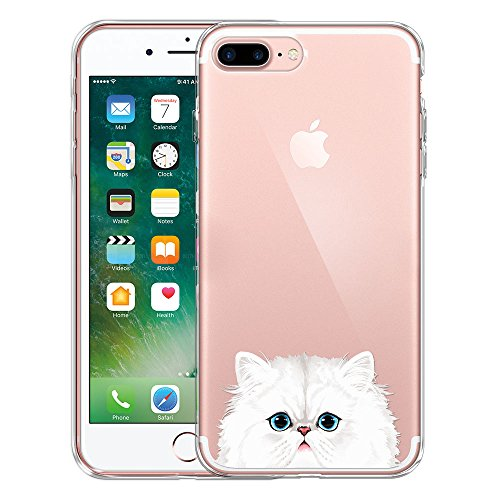 FINCIBO iPhone 7 Plus / 8 Plus Case, Clear Transparent TPU Silicone Protector Cover Soft Gel Skin For Apple iPhone 7 Plus 2016 / iPhone 8 Plus 2017 5.5 inch - Snow White Persian Cat