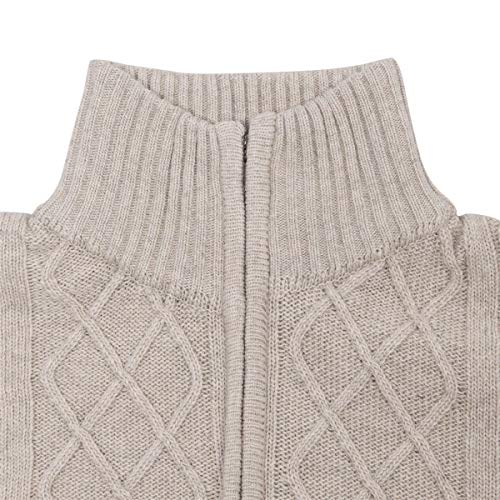 VOBOOM Mens Casual Stand Collar Cable Knitted Zip-up Cardigan Sweater  Jacket (Beige 1e46586c8