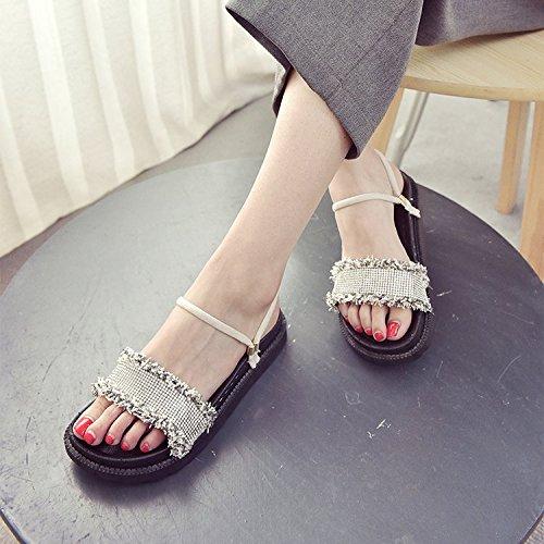 Mujer Verano Khaki chanclas Negro Moda Slip Y mujer Sandalias Confortable Silvestres para WHLShoes Caqui Sandalias Casual Transpirable y Zapatillas De vPnx0F
