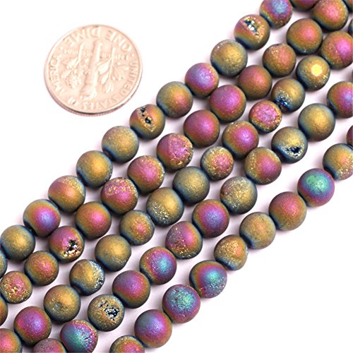- 6mm Multicolored Druzy Drusy Metallic Coated Agate Gemstone Loose Beads in Bulk for Jewelry Making Wholesale Beads One Strand 15 1/2
