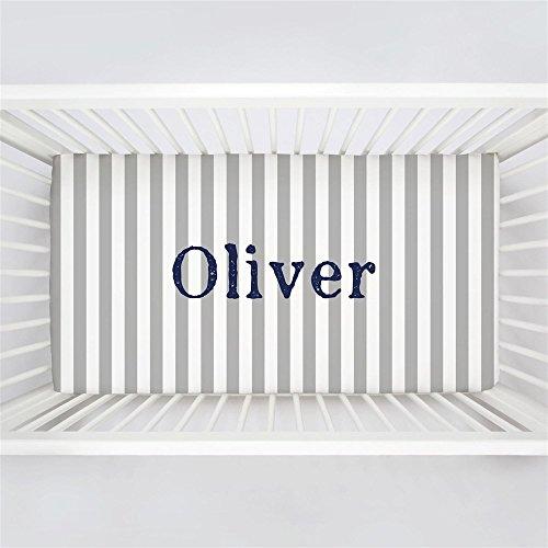 Carousel Designs Personalized Custom Silver Gray Stripe Crib