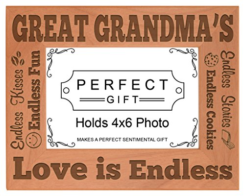 ThisWear Mothers Day Great Grandma Love Endless Natural Wood ...