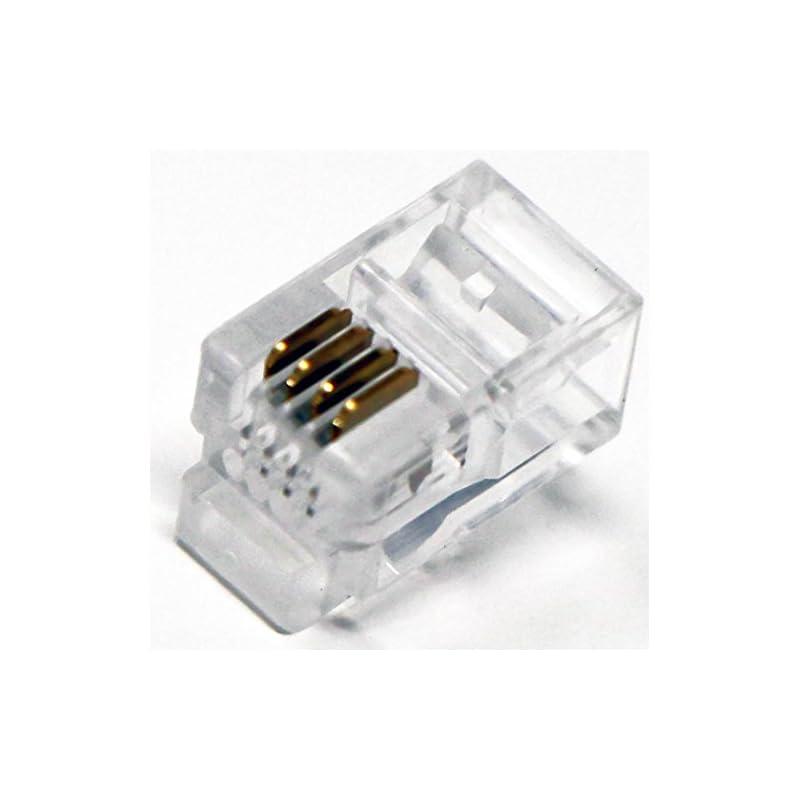 Tupavco TP808 RJ9 Modular Headset Connector (100 Pack Per Bag) 4P4C Phone Connectors - RJ9/RJ10/RJ22 Jack Crimp End Crimper for Telephone Cable/Cord Handset