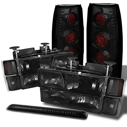 Xtune for 1994-1999 Chevy Tahoe/Suburban Smoked Headlights + Black Smoke Tail Lights + LED 3rd Brake Lamp 1995 1996 1997 1998