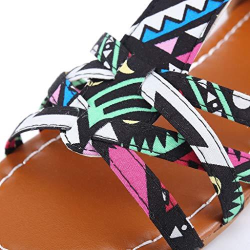 Orangeskycn Summer Boho Women Sandals Bohemian National Sandals Large Size Retro Roman Peep Toe Hollow Contrast Sandals Black by Orangeskycn Women Sandals (Image #6)