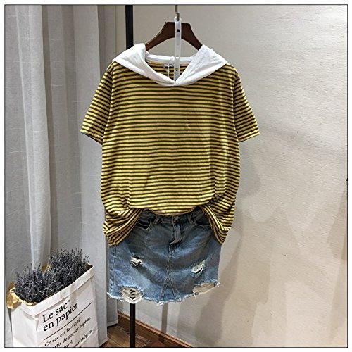 Xmy cap de courte à rayures T-Shirt Ladies' summer section fine de l'ensemble de tête et manteaux de base chemises chapeaux élégant et sont de type code