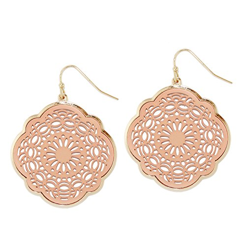 Pomina Coated Filigree Round Floral Drop Earrings (Peach)