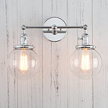 Permo double sconce vintage industrial antique 2 lights wall sconces permo double sconce vintage industrial antique 2 lights wall sconces with dual mini 59 round clear glass globe shade chrome aloadofball