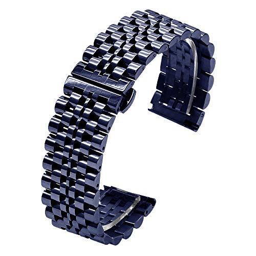 5 Colors for Flexible Watch Strap Polished 7 Rows 20mm 22mm Stainless Steel Watch Band Quick Release Metal Watch Bracelet Deployment Clasp(Black,Silver,Gold,Rose Gold,Two Tone IP Black) (22mm, Blue)