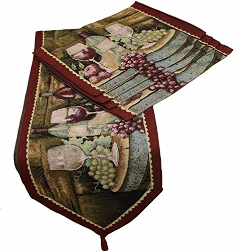 "uxART Handmade Dining Table Runner Tassel 13"" x 71, Burgundy Modern Wine Grapes Panting Pattern Top Home Decoration"
