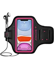 iPhone 12 Pro Max, 11 Pro Max Armband, JEMACHE Water Resistant Gym Running Workouts Arm Band Case for iPhone 12 Pro Max, 11 Pro Max, Xs Max with Card Holder (Rosy)