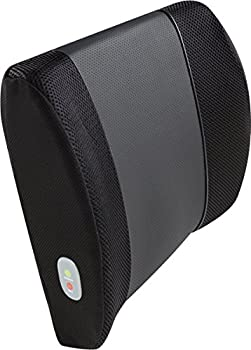 Relaxzen 60-2901 3D Mesh and PU Massage Lumbar Support Cushion with Heat, Black