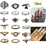 LOYALLOOK 16-18PCS Bohemian Vintage Knuckle Ring Set for Women Girls Stackable Rings Finger Toe Rings Set 18pcs