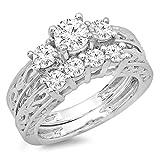 1.50 Carat (ctw) 18K Gold Round Diamond Ladies Vintage 3 Stone Bridal Engagement Ring Set 1 1/2 CT
