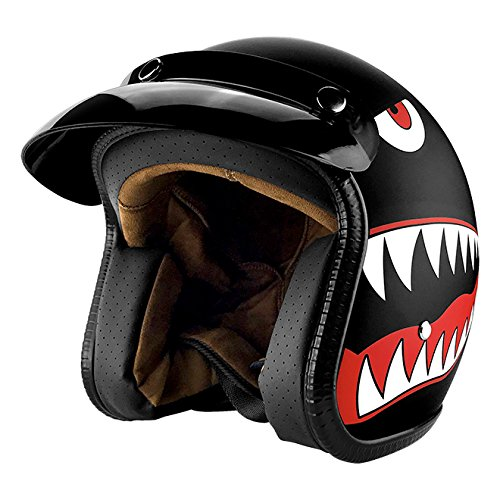 (3/4 Open Face Motorcycle Helmet With Visor Matte Finish Black Shark)