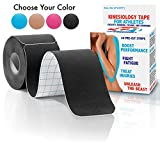 Kinesiology Tape - 20 Pre-cut Strips , Black , with Bonus eBook