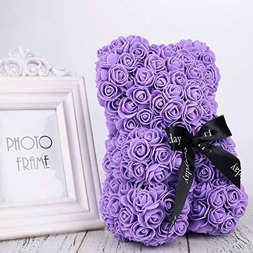 Goodjobb Rose Bear 40cm Teddy Bear Forever Artificial Rose Gift for Anniversary Valentines Wedding,Purple