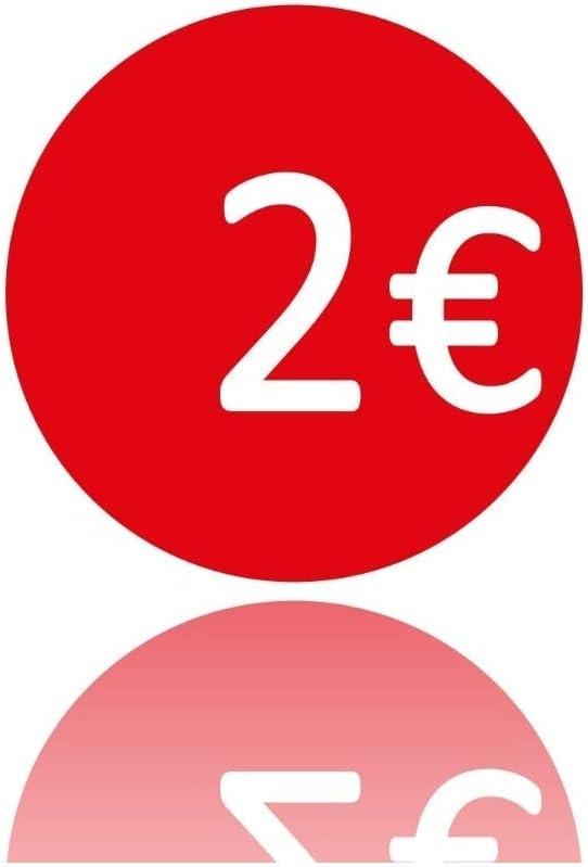 16393 Rotolo da 400 Etichette ADESIVE 35MM 2 Euro Bollo Rosso Adesivo SCONTI Trade Shop