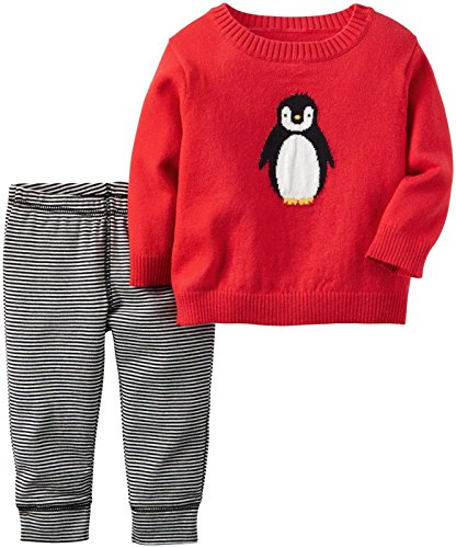 Carter's Baby Boys' 2 Pc Sets 121g899, Red Penguin, 3M