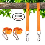 IAMGlobal Tree Swing Hanging Kit, Tree Swing Hanging Straps Kit, 2x 5ft Long Straps, 2x Heavy Duty Carabiners, Holds 2200 lbs, Perfect for Tree Swing, Hammocks, Swings (Orange)
