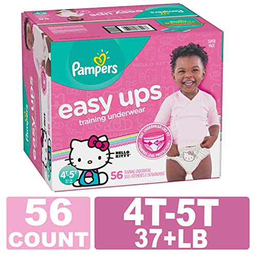 Pampers Easy Ups Pull On Disposable Training Diaper for Girls, 4T-5T, 56 Count, Super Pack
