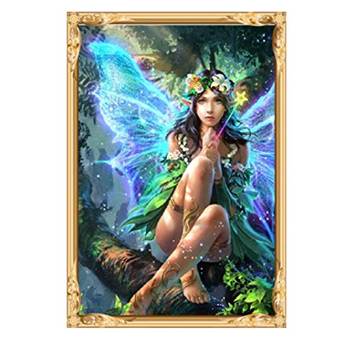 (5D Diamond Painting, callm Home Decor Clearance Embroidery Painting 5D Diamond Cross Stitch Kit Picture Partial Rhinestone Painting Arts Craft Supply DIY Diamond Painting Kits for Adults, Fairy)