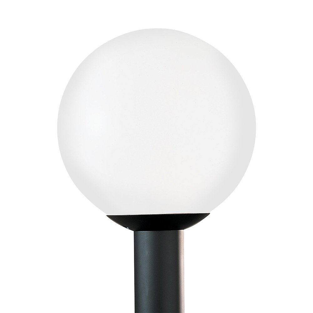 Sea Gull Lighting 8254-68 Outdoor Globe One-Light Outdoor Post Lantern with White Plastic Acrylic Diffuser, White Plastic Finish
